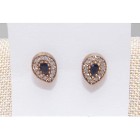 Pendientes de plata con brillantes y piedra azul